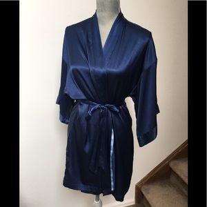 Victoria's Secret Navy Blue Satin Robe W/ Pockets